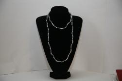 Sautoir Isabelle, petites Larmes de Job et Larmes de Job allongées gris perles, éléments en argent et fermoir argent
