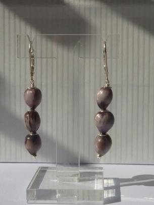Boucles d'oreilles Larmes de Job 3 violettes, dormeuses argent