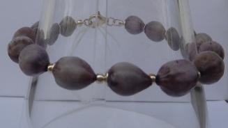 Bracelet Larmes de Job violettes, éléments argent et fermoir argent