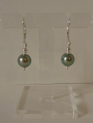 Boucles d'oreilles Perles de Tahiti et argent