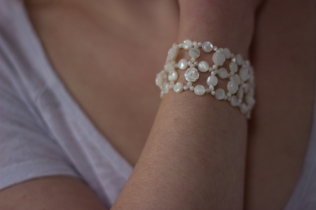 Bracelet nacres, Palets & Roses