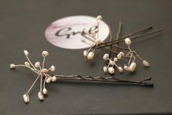 Epingle-bijoux perles d'eau douce blanche