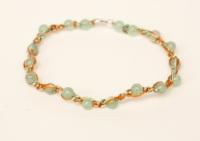 bracelet aventurine et soie orange et verte