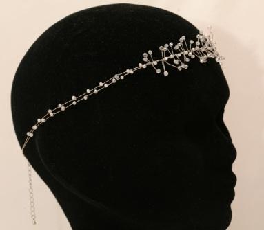Headband de mariée, arborescence laiton et perles de verre
