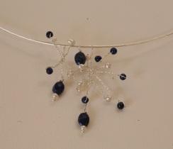 Collier constellation argent lapis lazuli et perles de culture blanche