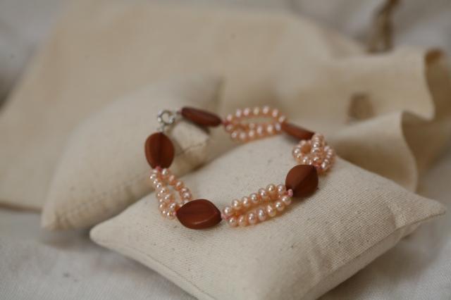 Bracelet caramel & rose tendre